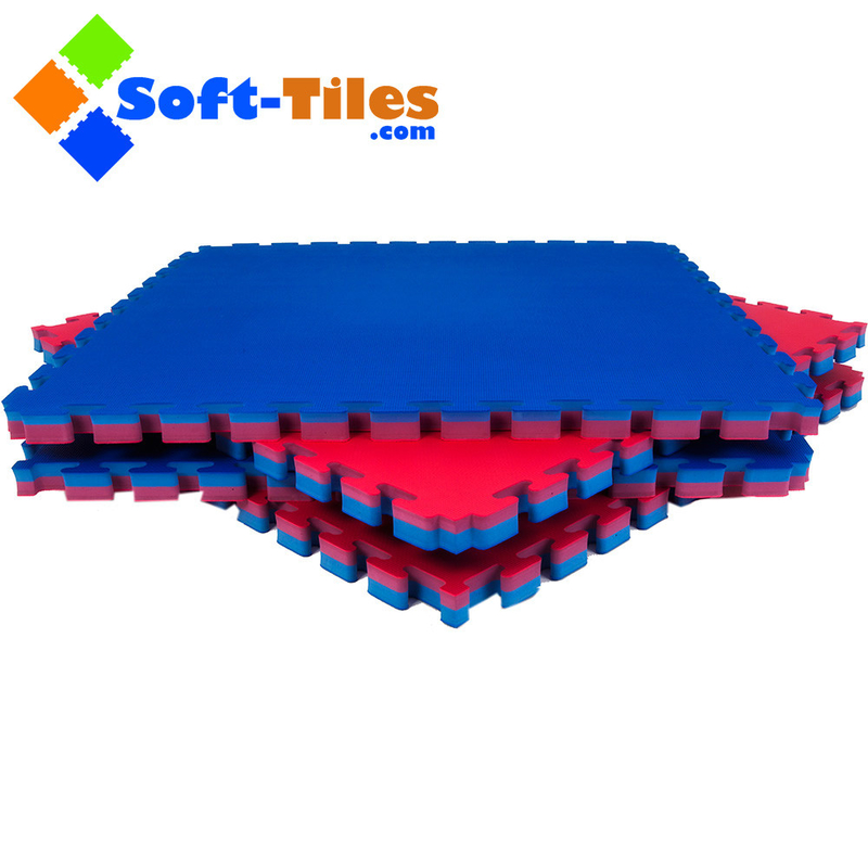 Red Blue 1m×1m High Density Gym Mat , 30mm Foam Exercise Tiles